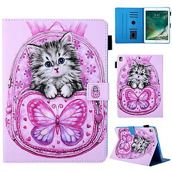 School Bag Series Butterfly Cat Pattern Horizontal Flip Leather Case for iPad Air / Air 2 / iPad Pro 9.7 2016 / iPad 9.7 2017 / iPad 9.7 2018, avec Ho