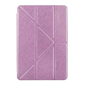Transformers Style Silk Texture Horizontal Flip Solid Color Leather Case with Holder for iPad Pro 12.9 inch(Pink)
