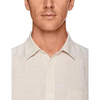 Essentials Men & apos;s العادية تناسب قميص الكتان قصير الأكمام, الطبيعية, X-Large