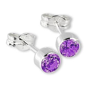 Sterling Silver Cubic Zirconia Unisex Stud Earrings 2 Carat - Purple