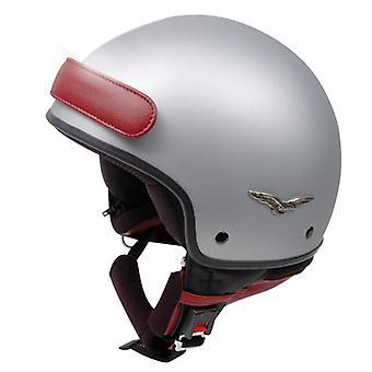Caberg Freedom Helmet Matt Silver Red DD-Ring Fastening ACU Approved XS
