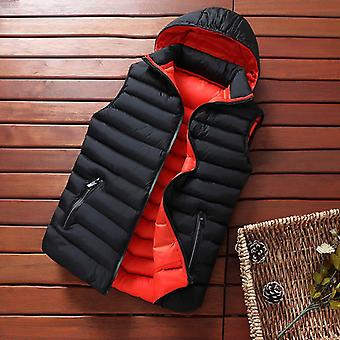 Mens Winter Sleeveless Jacket, Down Vest, Warm Thick Hooded Coats, Male