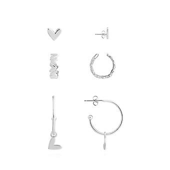 Joma Jewellery Tahlia Trio Heart Cuff Pack Silver Set Of 3 Earrings 4527