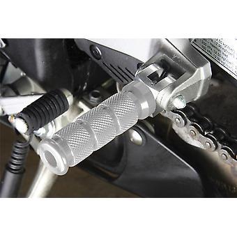 BikeTek Alloy Round Sports Footpegs Suzuki Rider / Pillion Chrome Type 2