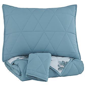 Conjunto de comforter de tela de tamaño completo cosido geométricamente con 2 shams, azul