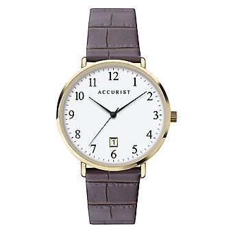 Accurist 7370 Classic Gold & Brown Leather Men's Watch