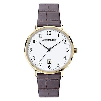 Accurist 7370 Classic Zlato & hnědá kůže Pánské hodinky