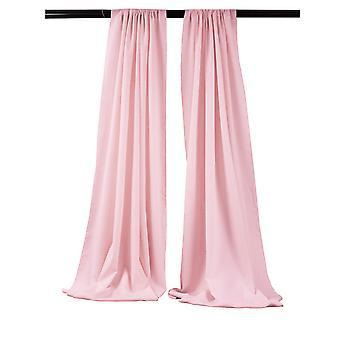 La Linen Pack-2 Polyester Poplin Backdrop Drape 96-Inch Wide By 58-Inch High, Light Pink