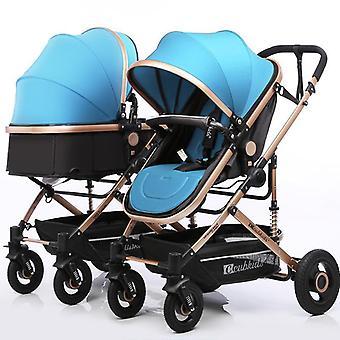 Twin Stroller, High, Landscape, Split Double Trolley, Light Folding, Two Baby