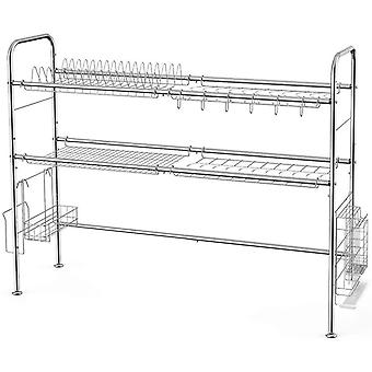 2-Tier Stainless Steel Dish Rack Over The Sink Nonslip with Adjustable Length Hygienically Cutlery