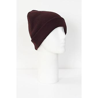 Ribbed Oxblood Knitted Beanie Hat
