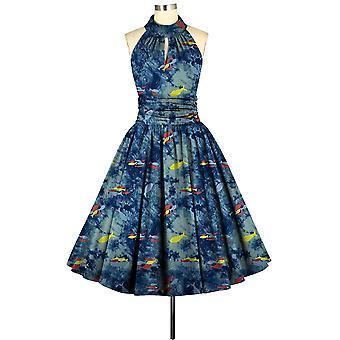 Tyylikäs tähti hihaton mekko sinisessä / kalassa