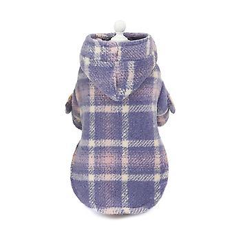 Elegant pläd trenchcoat vinter varma husdjur kläder
