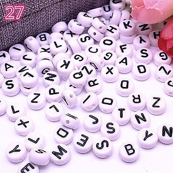 100pcs/lot 7x4mm 26 Letter Beads Round Shape Beads Alphabet Letter Charms