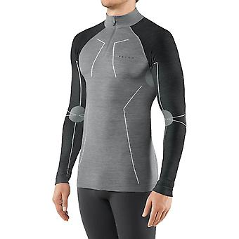 Falke Wool Tech Långärmad skjorta med dragkedja - Svart Grå Melange