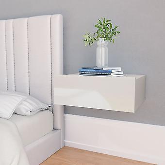vidaXL Mesa de cabeceira pendurada alta gloss branco 40 x 30 x 15 cm chipboard