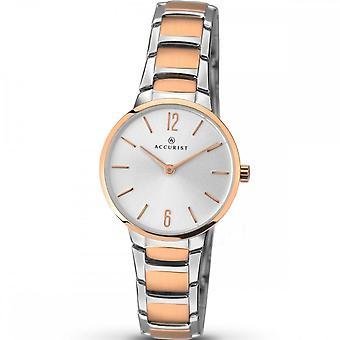 Accurist Damen Runde Silber Zifferblatt 2 Farbe Armband Uhr