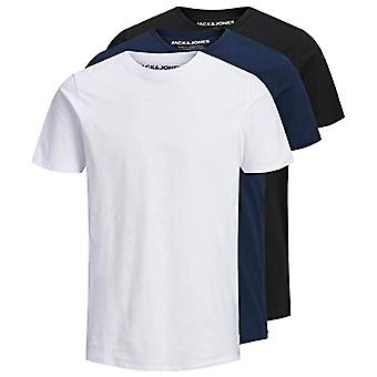 JACK & JONES JJEORGANIC Basic Tee SS O-Neck 3PK MP T-Shirt, Nero Confezione: 1 Nero, 1 Blu Navy, 1 Bianco, L Uomo