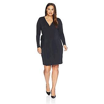 Brand - Lark & Ro Women's Plus Size Signature Long Sleeve Wrap Dress, Black, 1X