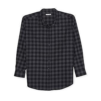 Essentials Męska i wysoka koszula flanelowa z długim rękawem, czerwony, 5x