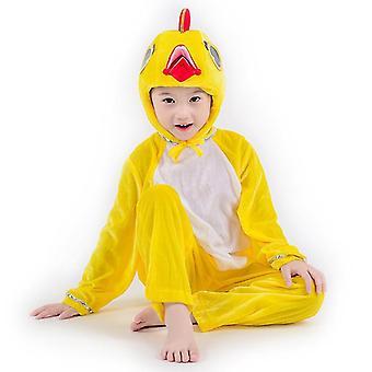 M(120cm)黄色鶏ロングコスプレスーツ衣装ステージ服 休日服 cai606