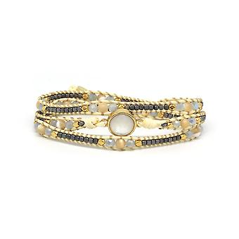 Boho betty america pearl gemstone wrap bracelet
