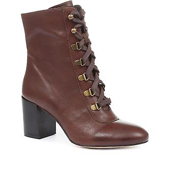 Jones Bootmaker Womens Liana Lace-Up Heeled Ankle Boots