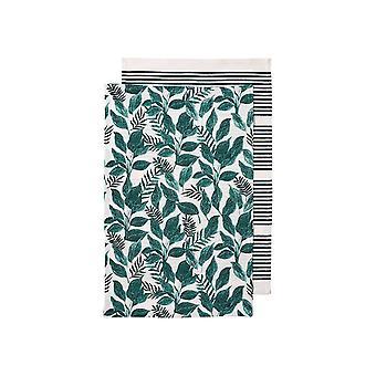 Ladelle Tierra Pack of 2 Tea Towels, Green