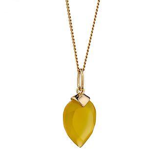بدايات نوفمبر الذهب الأصفر مطلي حجر الميلاد Chalcedony الحجر قلادة P4985