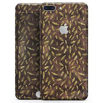Brown And Gold Leaf Pattern - Skin-kit For The Iphone 8 Or 8 Plus
