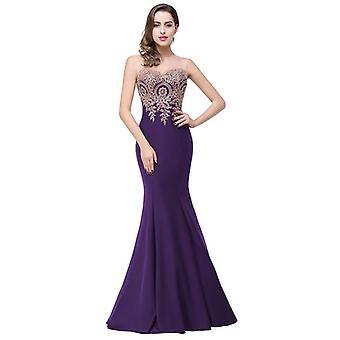 Sexy bez chrbta Appliques Burgundy dlhé plesové šaty