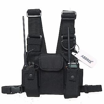 new pt-08 black chest harness front pack pouch holster vest rig for walkie talkie sm45545