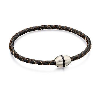 Fred Bennett Skinny Brunt Läder Flätat armband