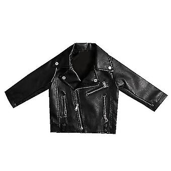 Baby Girls Leather Lapel Jacket Zipper Outerwear for Spring Autumn 90cm(Black)