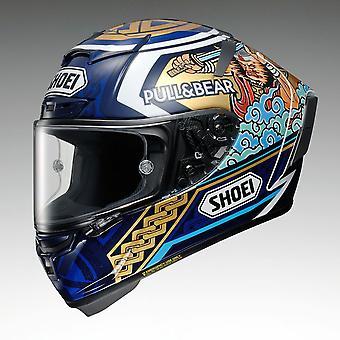 Shoei X-Spirit Marquez 3 Motegi TC2 Grafisk Street Motorcykel Hjälm Blå