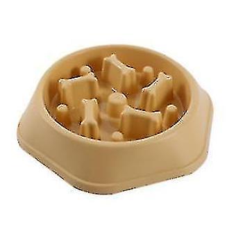 Anti Gulping Dog Bowl hidas syöttölaite, interaktiivinen bloat stop lemmikkikulho (keltainen)