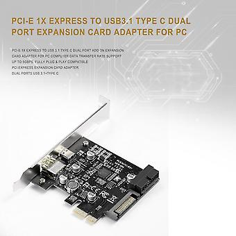 Pci-e 1x Express To Usb3.1 Type C Dual Port Expansion Card Adapter For Pc
