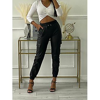 Womens Leather Look Cargo Jogger pants Bikerlook Coated Stretch Waistband Lined