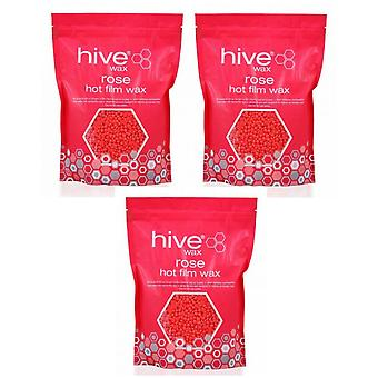 Hive Of Beauty 3 For 2 Paraffin Waxing Rose Hot Film Wax Pellets 700g