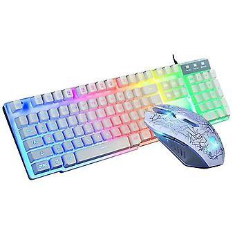 (White) Gaming Keyboard + Mouse Set Rainbow LED USB Illuminated For Laptop PC PS4 Xbox