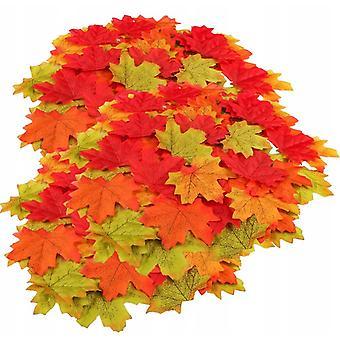 Liście klonu sztucznie zdobione jesienią, 200 sztuk różnych sztucznych liści klonu zmieszanych z jesiennymi kolorami, używanych do dekoracji ślubów,