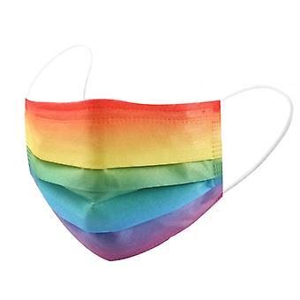 50шт Одноразовые маски для лица для взрослых 3-многорядная радужная маска для лица