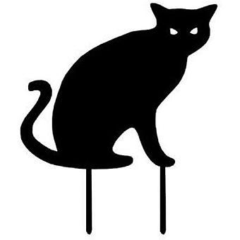 פסלי גן חתול מתכת שחורה צללית חתול דקור גן יתדות