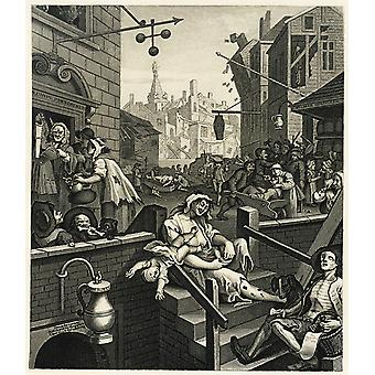 William Hogarth - Gin Lane 2 Poster Print Giclee