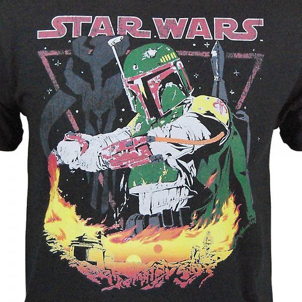 Star Wars Mens Star Wars Boba Fett flamme T Shirt noir