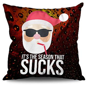Santa Hat Funny Linen Cushion 30cm x 30cm | Wellcoda