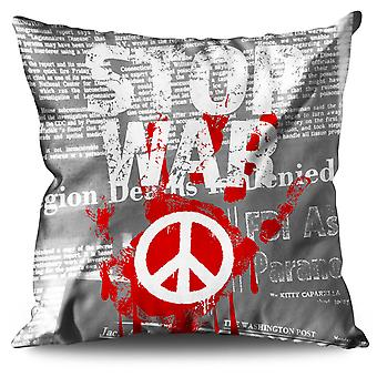 Stop War Peace Slogan Linen Cushion 30cm x 30cm | Wellcoda