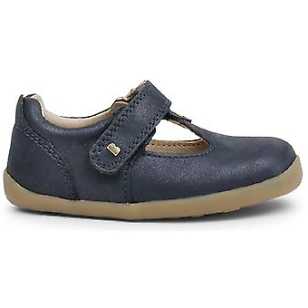 Bobux Step Up Girls Louise T-bar Shoes Navy Shimmer
