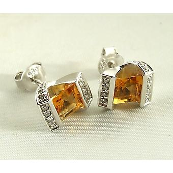 White gold earrings with Citrine and diamonds
