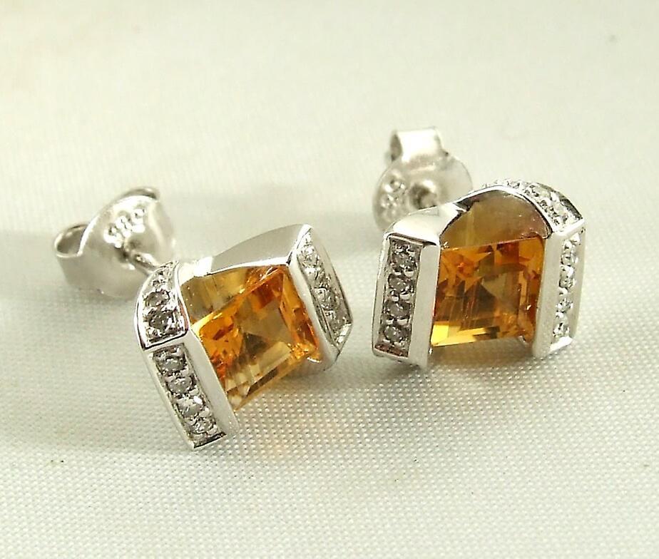 Wit gouden oorbellen met citrien en diamanten